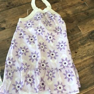 Girls lined sundress purple and white